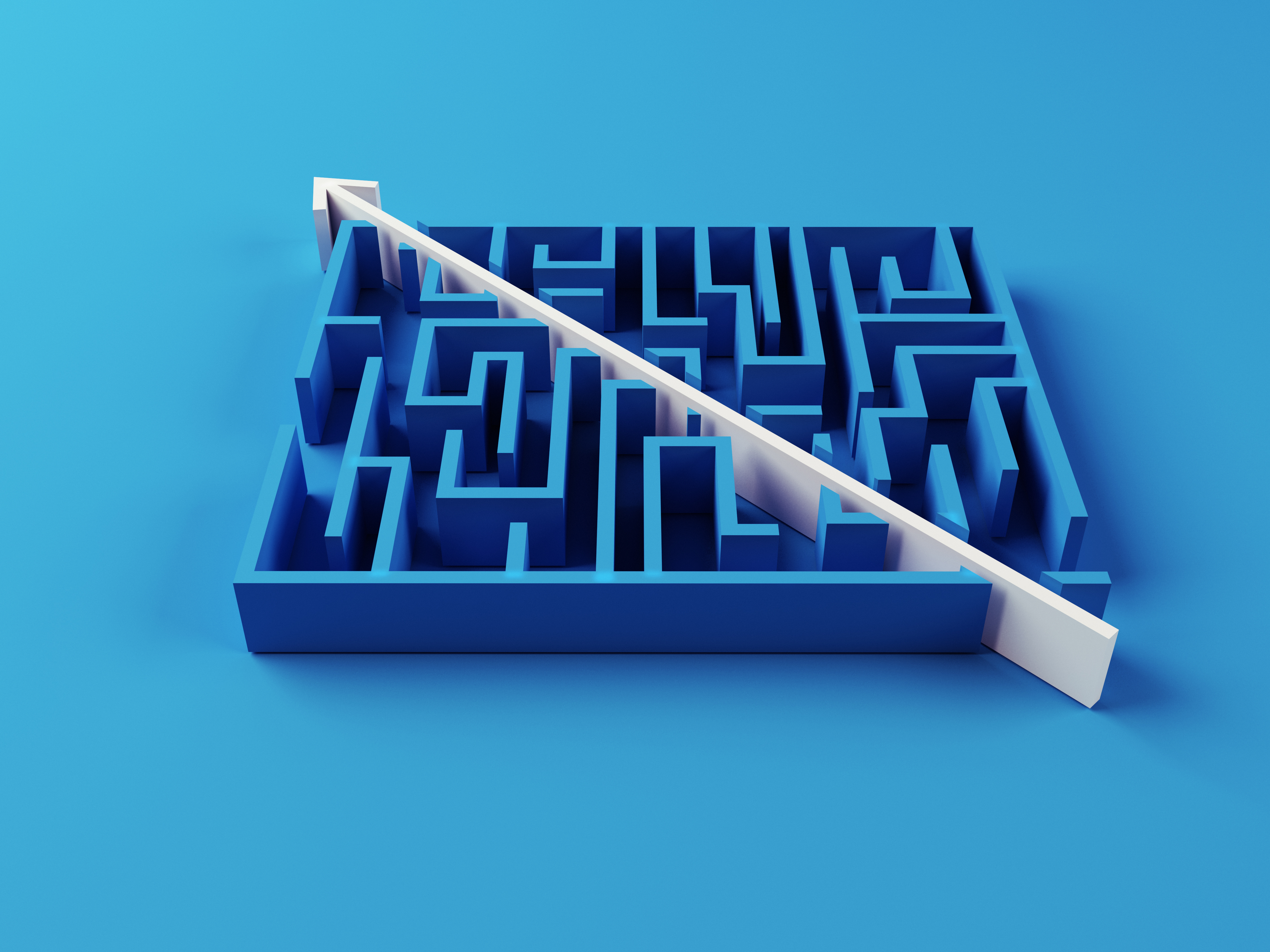 Solved Maze puzzle on blue background